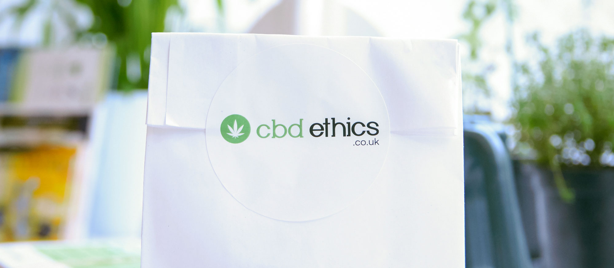picture of white cbd ethics product bag