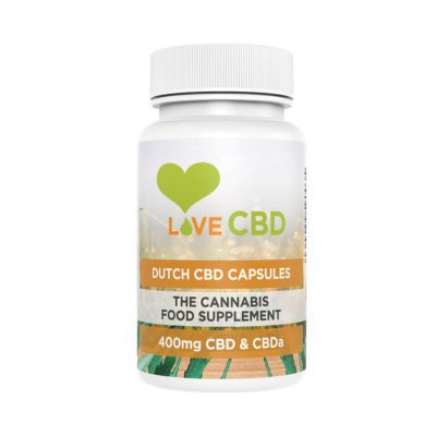 White bottle of love cbd dutch capsules