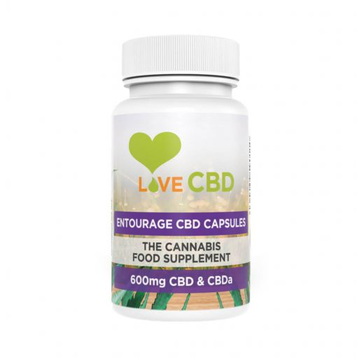 White bottle of Love cbd entourage capsules