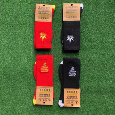 red and black hemp socks